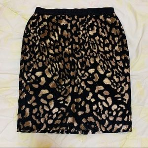 Ann Taylor Black Gold Skirt Size: 4P New With Tag